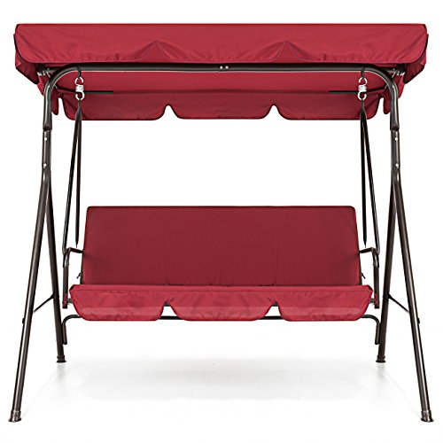 Red-2-Persons-Outdoor-Canopy-Swing-Bench-Glider-Hammock-Patio-Yard-Backyard-Lawn-Deck-Garden-Porch-Pool-Side-Furniture-Decoration-Polyester-And-Durable-Steel-Frame-Great-Piece-For-Summer-Relaxation-0-2