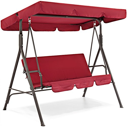 Red-2-Persons-Outdoor-Canopy-Swing-Bench-Glider-Hammock-Patio-Yard-Backyard-Lawn-Deck-Garden-Porch-Pool-Side-Furniture-Decoration-Polyester-And-Durable-Steel-Frame-Great-Piece-For-Summer-Relaxation-0