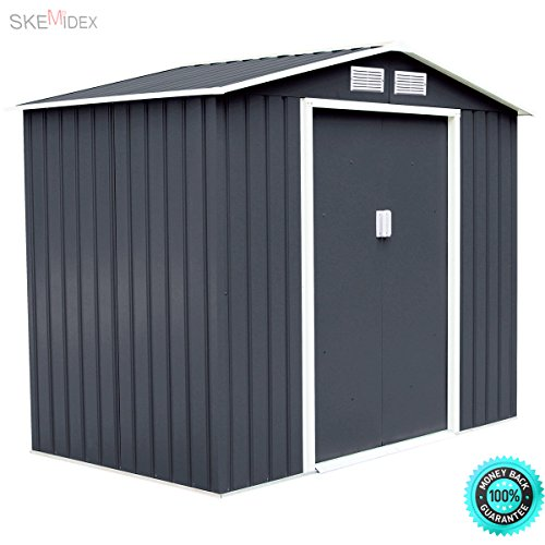 SKEMiDEX-7-X-4-Outdoor-Garden-Storage-Shed-Tool-House-Sliding-Door-Steel-Dark-Gray-This-house-has-two-flexible-sliding-doors-and-two-shutters-are-breathable-and-ventilated-which-helps-to-reduce-0