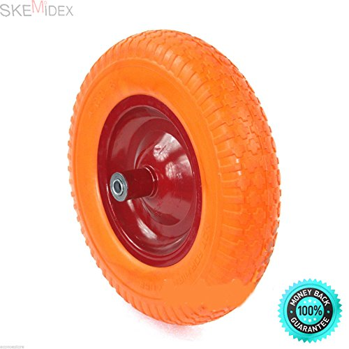 SKEMiDEX-Lot-Two-16-Flat-Free-Wheel-Barrow-Tire-Foamed-Polyurethane-Wheelbarrow-Solid-polyurethane-design-eliminates-the-chance-of-a-flat-tire-A-perfect-replacement-for-pneumatic-0
