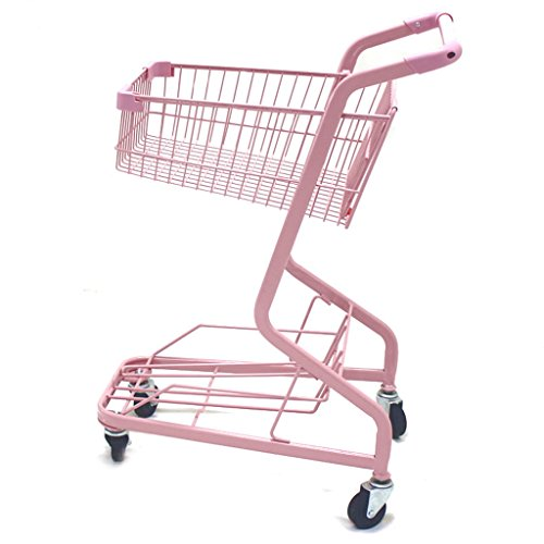 Shopping-cart-hand-Push-car-double-layer-KTV-supermarket-4-wheel-pink-household-metal-wheeled-children-mini-shopping-basket-0-1