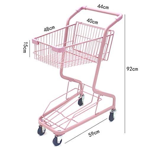 Shopping-cart-hand-Push-car-double-layer-KTV-supermarket-4-wheel-pink-household-metal-wheeled-children-mini-shopping-basket-0-2