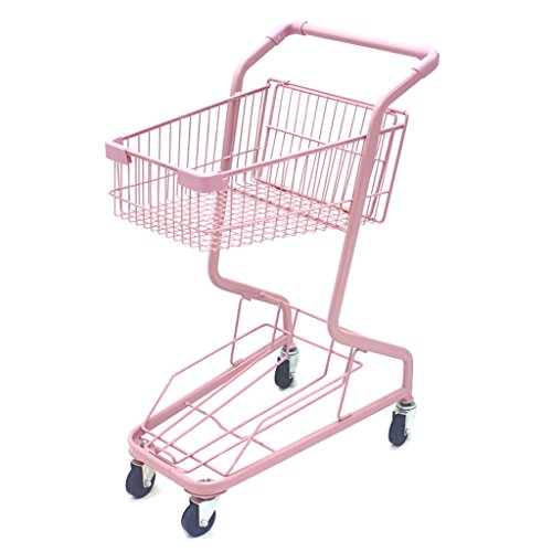 Shopping-cart-hand-Push-car-double-layer-KTV-supermarket-4-wheel-pink-household-metal-wheeled-children-mini-shopping-basket-0
