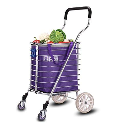 Shopping-cart-hand-Push-car-large-home-Folding-portable-large-capacity-buy-dish-car-small-cart-blue-0