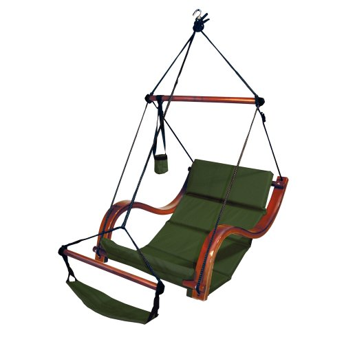 Sky-Air-Lounger-PorchPatio-Swing-with-Wooden-Armrest-Green-0