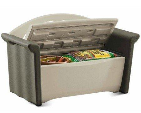 Storage Bench, Patio Box, Plastic, Color Beige/Brown ...