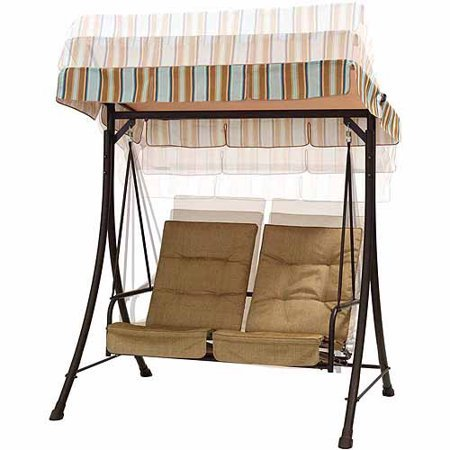 Stylish-Outdoor-2-Seat-Patio-Swing-With-Pullout-Ottomans-Fade-Resistant-Fabric-UV-Treated-Adjustable-Canopy-Tufted-Design-Durable-Powder-Coated-Steel-Frame-Construction-Brown-Finish-0-0