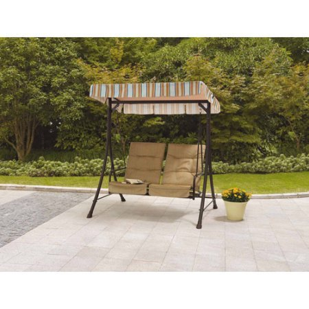 Stylish-Outdoor-2-Seat-Patio-Swing-With-Pullout-Ottomans-Fade-Resistant-Fabric-UV-Treated-Adjustable-Canopy-Tufted-Design-Durable-Powder-Coated-Steel-Frame-Construction-Brown-Finish-0