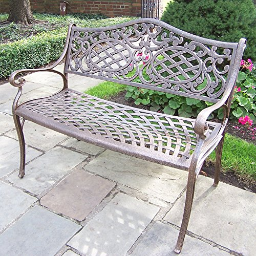 Stylish-Outdoor-Patio-Bench-With-Elegant-Woven-Design-Aluminum-Construction-Detailed-Scroll-Work-On-The-Backrest-Powder-Coated-Antique-Bronze-Finish-Adds-Beauty-To-Any-Front-Or-Backyard-0