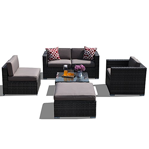 Super-Patio-Outdoor-Furniture-6-Piece-All-Weather-Grey-Wicker-Sectional-Sofa-Set-Rattan-Furniture-with-White-CushionsGlass-Coffee-Table-Single-Sofa-Chair-Patio-Backyard-PoolSteel-Frame-0-1
