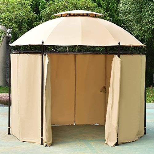 TANGKULA-10-ft-Round-Gazebo-Canopy-Shelter-Outdoor-Tent-with-Side-Walls-0-0