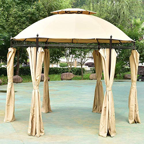 TANGKULA-10-ft-Round-Gazebo-Canopy-Shelter-Outdoor-Tent-with-Side-Walls-0-1