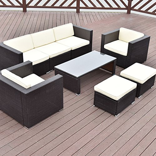 TANGKULA-8-Piece-Outdoor-Furniture-Set-Patio-Garden-Backyard-Wicker-Rattan-Cushioned-Seat-Sectional-Coversation-Sofa-Set-with-Glass-Top-Coffee-Table-and-Ottomans-Black-0-0