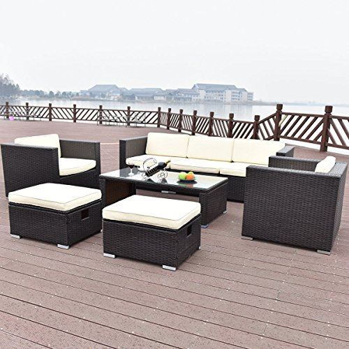 TANGKULA-8-Piece-Outdoor-Furniture-Set-Patio-Garden-Backyard-Wicker-Rattan-Cushioned-Seat-Sectional-Coversation-Sofa-Set-with-Glass-Top-Coffee-Table-and-Ottomans-Black-0-1