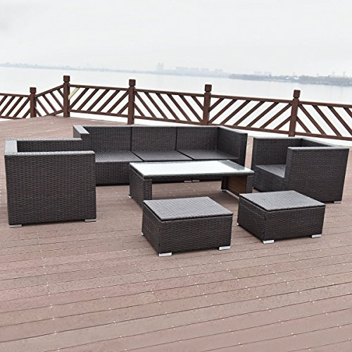 TANGKULA-8-Piece-Outdoor-Furniture-Set-Patio-Garden-Backyard-Wicker-Rattan-Cushioned-Seat-Sectional-Coversation-Sofa-Set-with-Glass-Top-Coffee-Table-and-Ottomans-Black-0-2