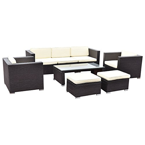TANGKULA-8-Piece-Outdoor-Furniture-Set-Patio-Garden-Backyard-Wicker-Rattan-Cushioned-Seat-Sectional-Coversation-Sofa-Set-with-Glass-Top-Coffee-Table-and-Ottomans-Black-0