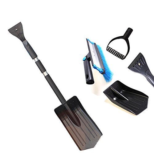 Toolcool-Ice-Snow-Scraper-Combination-Winter-Vehicle-Windshield-Car-Brush-Shovel-Retractable-Removal-Black-0