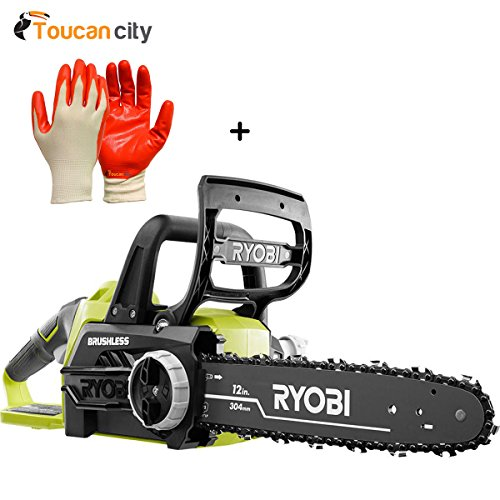 Toucan-City-Ryobi-12-in-18-Volt-Brushless-Lithium-Ion-Electric-Cordless-Chainsaw-Battery-and-Charger-Not-Included-P548A-and-Nitrile-Dip-Gloves5-Pack-0