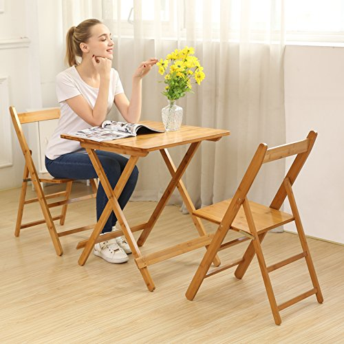 UNICOO-Bamboo-Square-Folding-Table-with-Two-Folding-Chairs-Outdoor-and-Indoor-Folding-Bistro-Set-3-Piece-Patio-Table-and-Chairs-Set-T60-3S-0