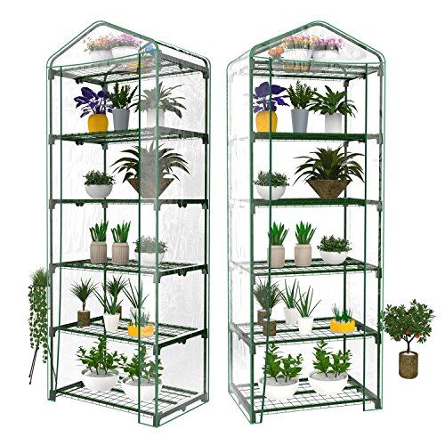 Utheing-5-Tier-Greenhouse-Shelf-with-PVC-Cover-for-Outdoor-Indoor-Garden-Plants-0