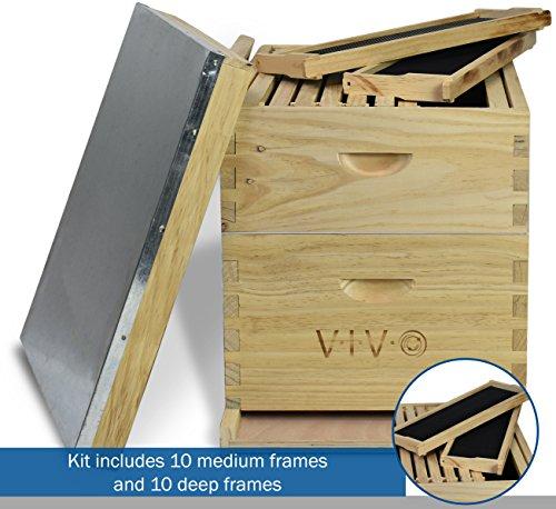VIVO-Complete-Beekeeping-20-Frame-Beehive-Box-Kit-10-Medium-10-Deep-Langstroth-Bee-Hive-from-BEE-HV01-0-2
