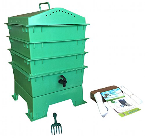VermiHut-3-Tray-Worm-Compost-Bin-with-Free-Claw-Green-0