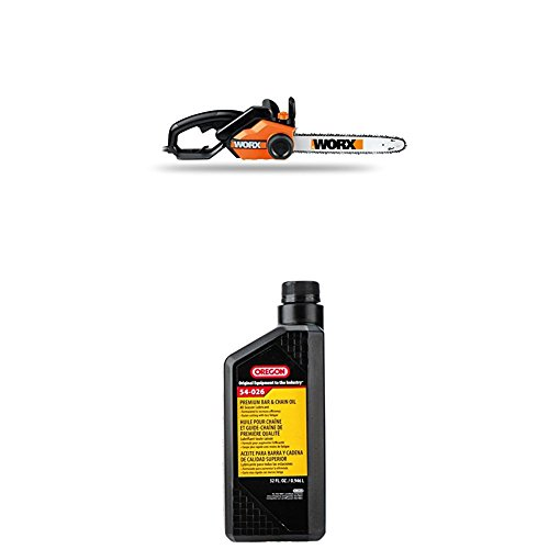 WORX-16-Inch-145-Amp-Electric-Chainsaw-with-Auto-Tension-Chain-Brake-and-Automatic-Oiling–WG3031-WITH-Oregon-54-026-Chain-Saw-Bar-And-Chain-Oil-Quart-0