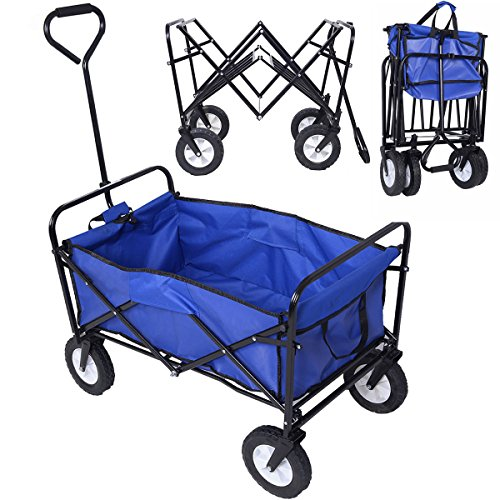 Wagon-Cart-Garden-Collapsible-Folding-Shopping-Beach-Toy-Sports-Blue-Frame-0-0