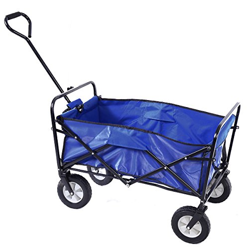 Wagon-Cart-Garden-Collapsible-Folding-Shopping-Beach-Toy-Sports-Blue-Frame-0-1