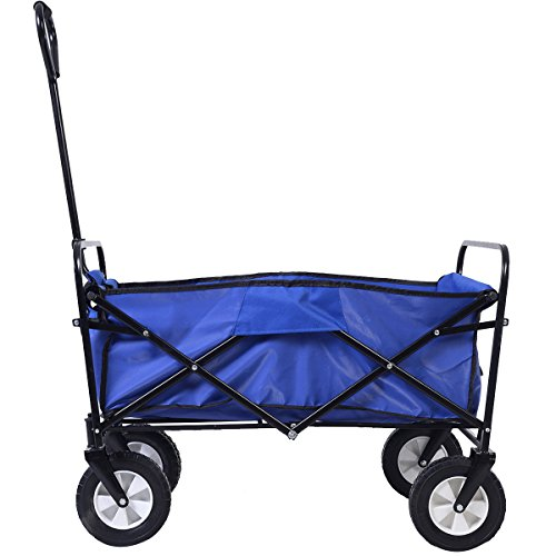 Wagon-Cart-Garden-Collapsible-Folding-Shopping-Beach-Toy-Sports-Blue-Frame-0-2