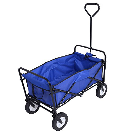 Wagon-Cart-Garden-Collapsible-Folding-Shopping-Beach-Toy-Sports-Blue-Frame-0
