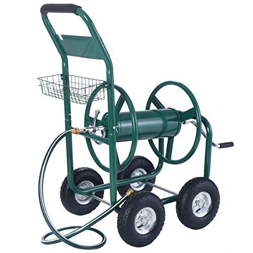 Wakrays-Garden-Water-Hose-Reel-Cart-300FT-Outdoor-Heavy-Duty-Yard-Planting-WBasket-New-0