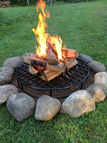 Walden-Fire-Pit-Grate-Round-295-Diameter-Premium-Heavy-Duty-Steel-Grate-with-Ember-Catcher-for-Outdoor-Fire-Pits-0-2