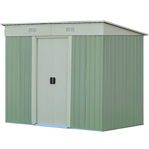 WhiteGreen-Outdoor-4-x-8FT-Garden-Storage-Shed-Tool-Galvanized-Steel-House-wSliding-Door-0-0