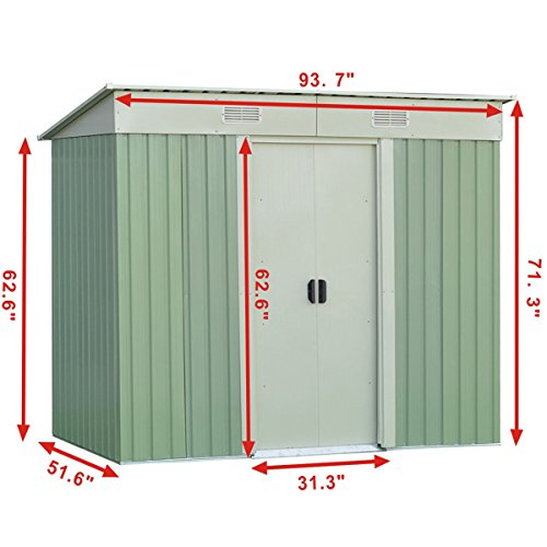 WhiteGreen-Outdoor-4-x-8FT-Garden-Storage-Shed-Tool-Galvanized-Steel-House-wSliding-Door-0-1