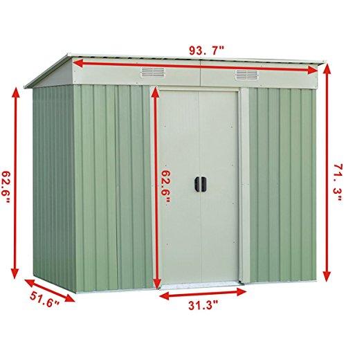 WhiteGreen-Outdoor-4-x-8FT-Garden-Storage-Shed-Tool-Galvanized-Steel-House-wSliding-Door-0-1