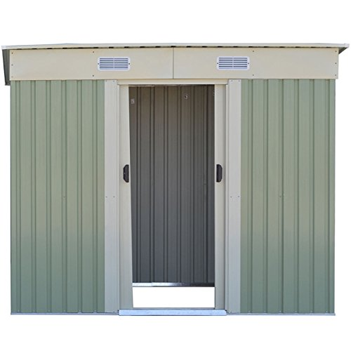 WhiteGreen-Outdoor-4-x-8FT-Garden-Storage-Shed-Tool-Galvanized-Steel-House-wSliding-Door-0-2