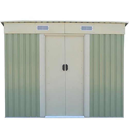 WhiteGreen-Outdoor-4-x-8FT-Garden-Storage-Shed-Tool-Galvanized-Steel-House-wSliding-Door-0
