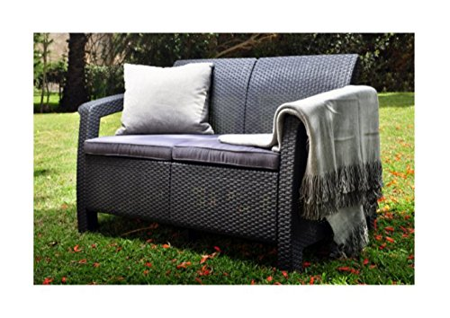 Wicker-Patio-LoveseatOutdoor-Cushions-Color-Grey-0