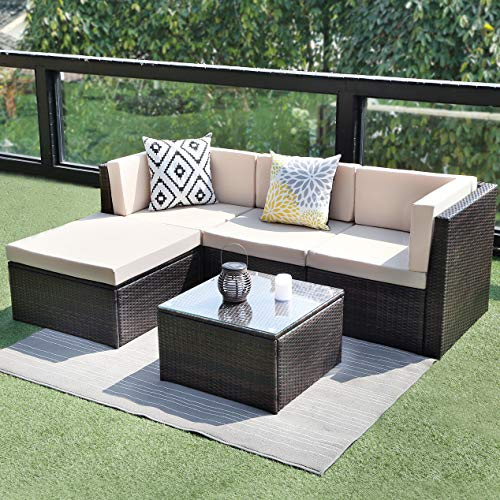 Wisteria-Lane-5PCS-Outdoor-Patio-Furniture-Set-Garden-Lawn-Rattan-Sofa-Cushioned-Seat-Wicker-Sofa-0