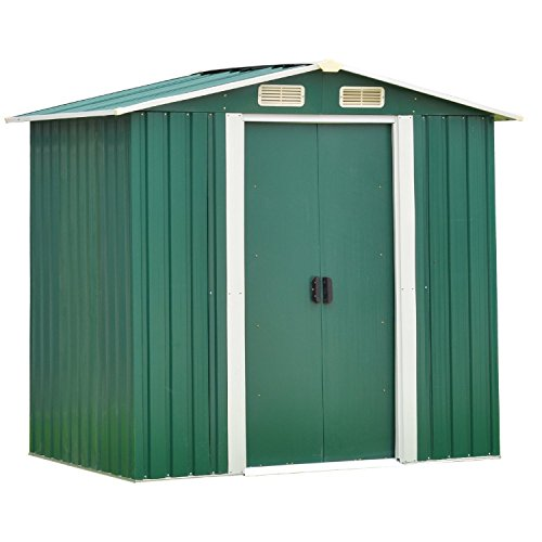 Wonlink-Heavy-Duty-Outdoor-Steel-Garden-Storage-Utility-Shed-Backyard-Lawn-Building-Garage-Green6-by-4-Feet-0