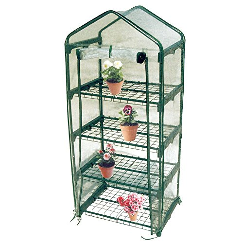Worth-Mini-Greenhouse-Metal-Green-Version-with-3-4-Tier-Collapsible-Shelves-Best-Greenhouse-with-ROLL-UP-Zipper-Door-0
