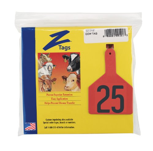 Z-Tags-1-Piece-Pre-Numbered-Hot-Stamp-Tags-for-Cows-Numbers-from-1-to-25-Red-0