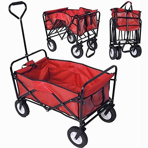 lunanice-Collapsible-Folding-Wagon-Cart-Garden-Buggy-Shopping-Beach-Toy-Sports-Red-New-0-0