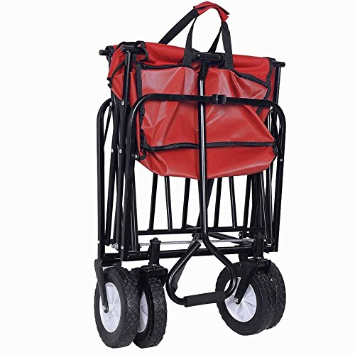 lunanice-Collapsible-Folding-Wagon-Cart-Garden-Buggy-Shopping-Beach-Toy-Sports-Red-New-0-1