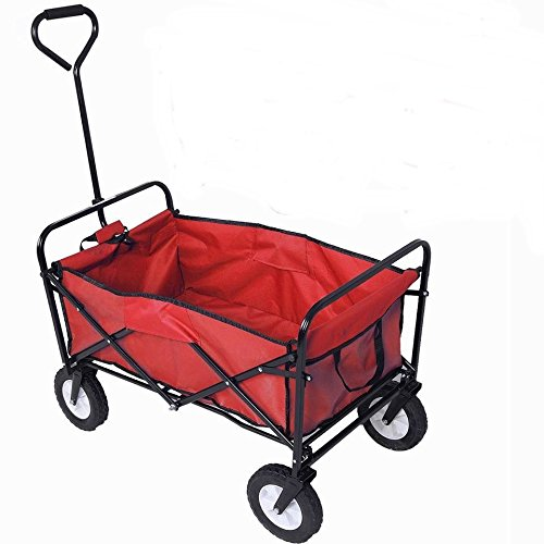lunanice-Collapsible-Folding-Wagon-Cart-Garden-Buggy-Shopping-Beach-Toy-Sports-Red-New-0