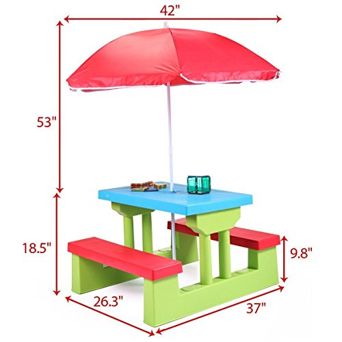 nooshi-4-Seat-Kids-Picnic-Table-wUmbrella-Garden-Yard-Folding-Bench-Children-Outdoor-0