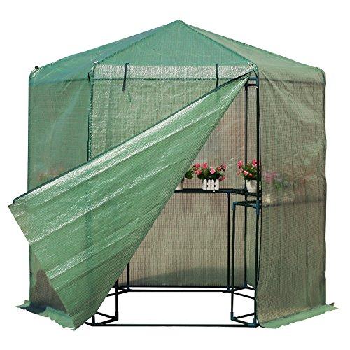 totoshop-New-65-x-7-Walk-in-Hexagonal-Greenhouse-PE-Grid-Hot-Plant-Gardening-House-10-0