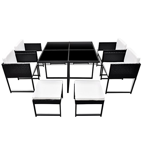 vidaXL-21-pcs-Patio-Black-Rattan-Garden-Seat-Dining-Set-Chair-Table-Glass-Wicker-0-0