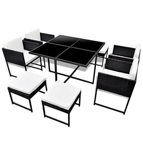 vidaXL-21-pcs-Patio-Black-Rattan-Garden-Seat-Dining-Set-Chair-Table-Glass-Wicker-0